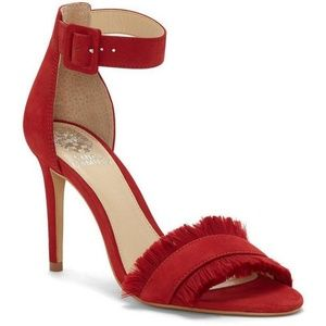 NEW Vince Camuto Red Leather Joshina Sandal Pump
